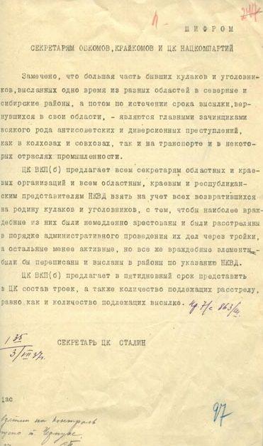 Решение Политбюро ЦК ВКП(б) № П51/94.