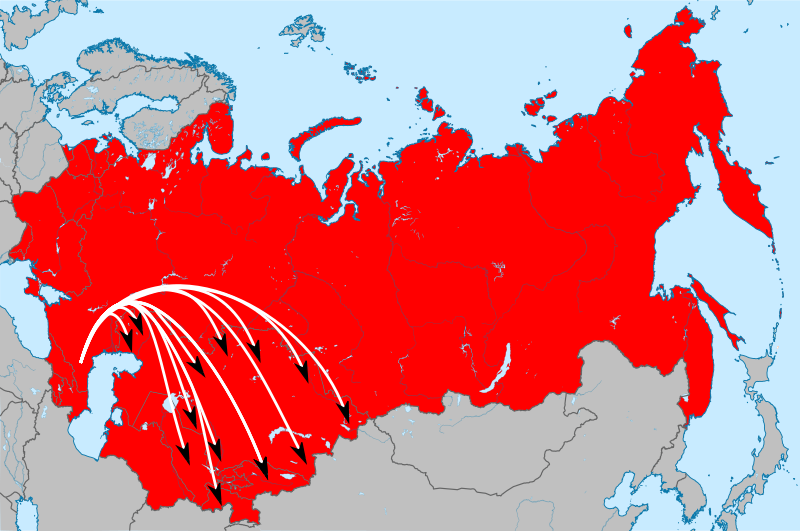 Направления переселения чеченцев и ингушей.