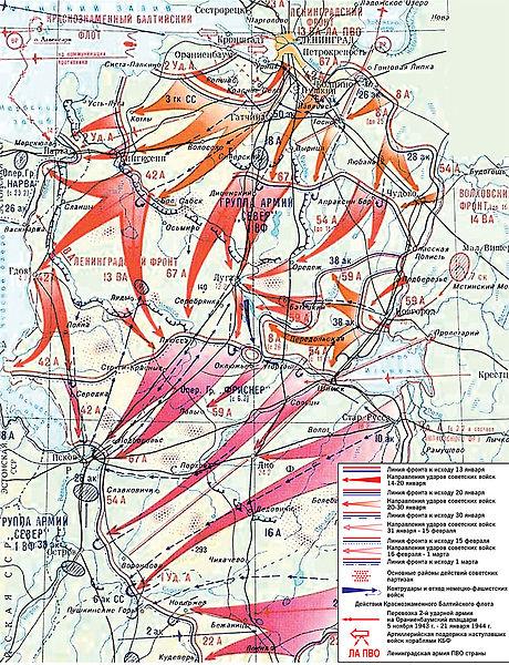 Карта-схема Ленинградско-Новгородской операции.
