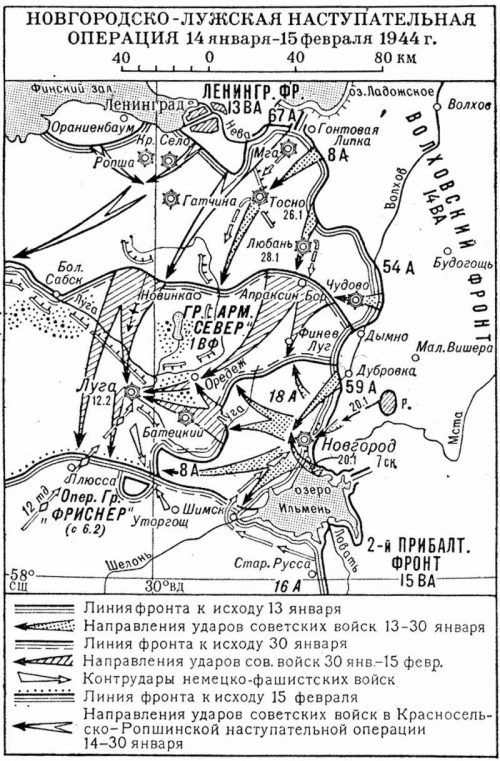 Карта-схема Новгородско-Лужской операции.