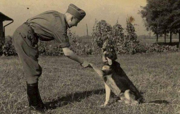 Офицер СС из концлагеря Освенцим со своей собакой.