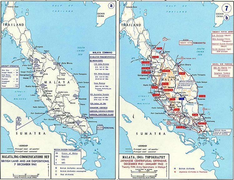 Карта-схема Малайской операции.