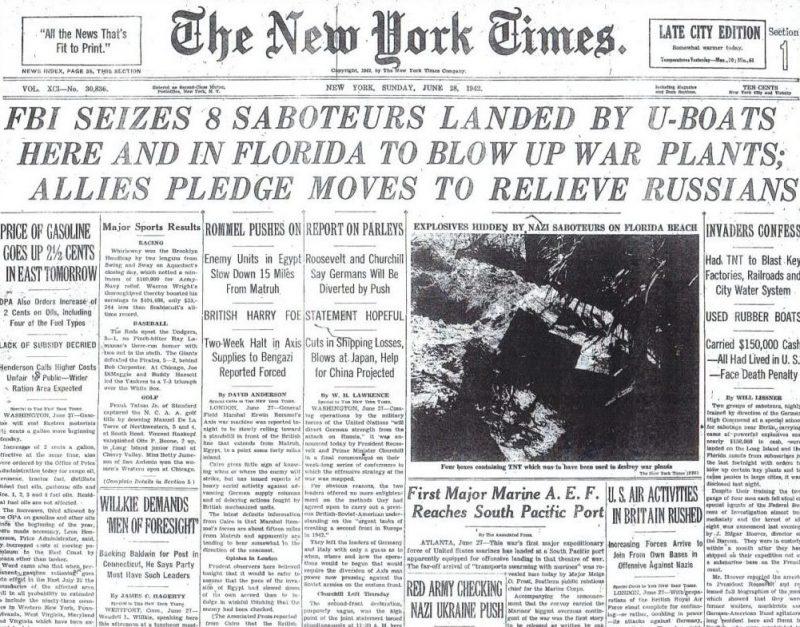 Сообщения в «Нью-Йорк тайм» о захвате немецких диверсантов. 28 июня 1942 г.