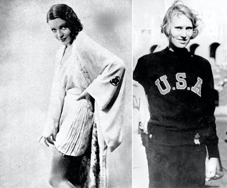 Актриса Кэти фон Наги (слева). Американская легкоатлетка Вильгельмина фон Бремен (справа).