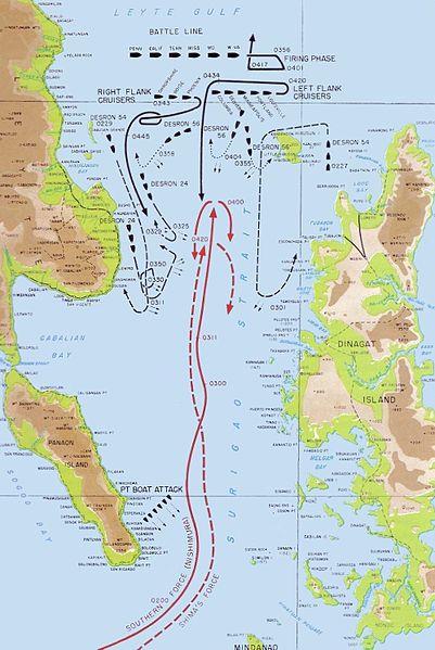 Карта-схема сражение в проливе Суригао.