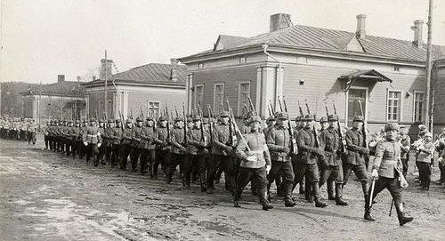 Строевая подготовка финских солдат. 1939 г.