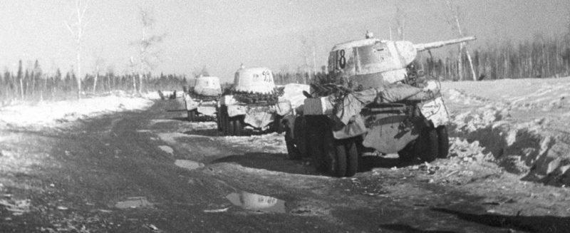 Советские бронеавтомобили в боях за Волхов. 1942 г.