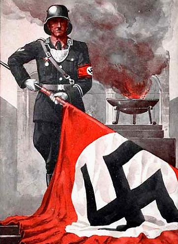 Плакат немецкой пропаганды со Знаменем крови. 1934 г.