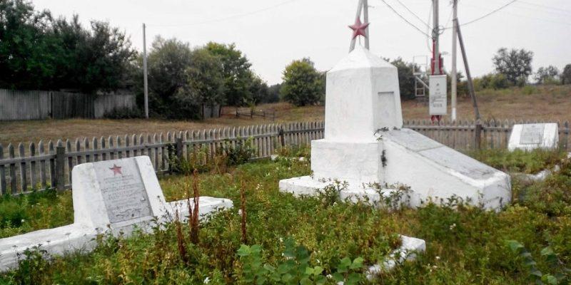 с. Вельбовка Гадячского р-на. Братские могилы советских воинов и могила летчика П.П. Тарабана.