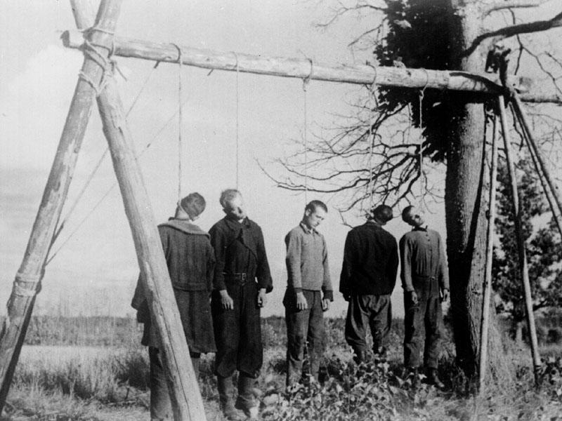 Казнь советских партизан. Февраль 1942 г.