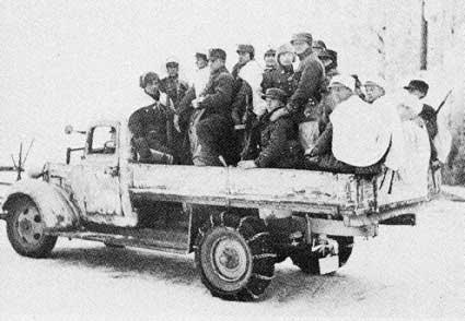 Финские солдаты на пути к фронту. Январь 1940 г.