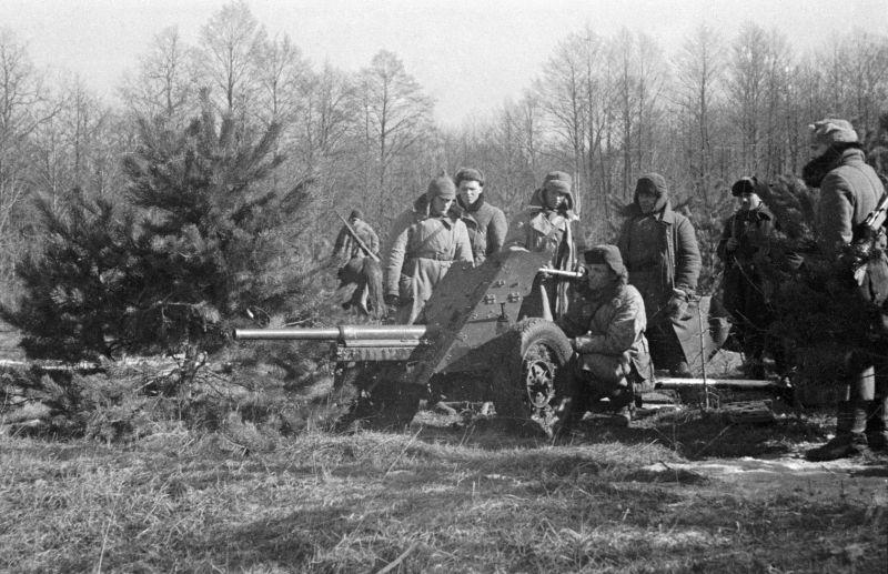 Партизаны Ковпака у 45-мм противотанковой пушки. 1943 г.