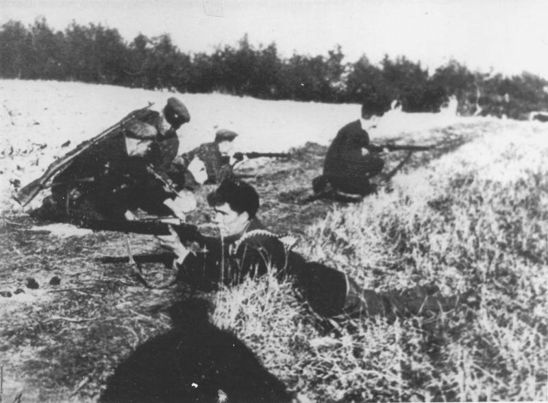 Партизаны Гомельской партизанской бригады «Большевик» минирует шоссейную дорогу Губичи – Жлобин. 1943 г.