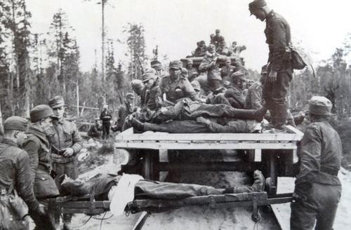 Эвакуация раненных из окружения в Киестинки. Осень 1941 г.