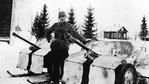 37-мм противотанковые пушки на лыжах. 1941 г.