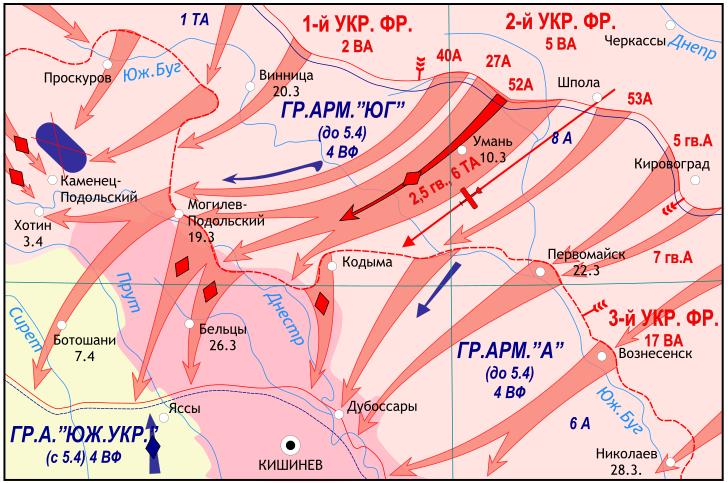 Карта-схема Уманско-Ботошанской операции.