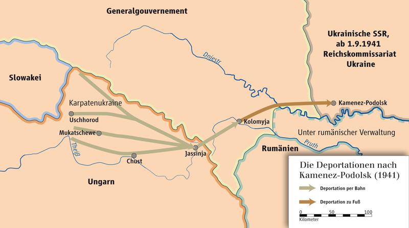 Схема депортация евреев из Венгрии в Каменец-Подольский в июле-августе 1941 г.