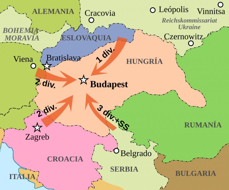 Карта оккупации Венгрии германскими войсками в 1944 году.