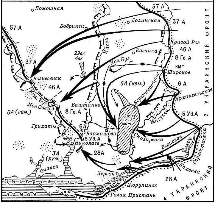 Карта-схема Березнеговато-Снигирёвской операции.