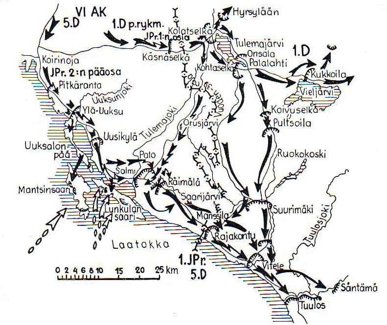 Карта-схема высадки десанта на Лункулансаари - Мантсинсаари.