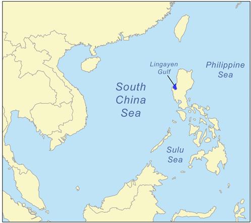 Карта залива Лингаен.
