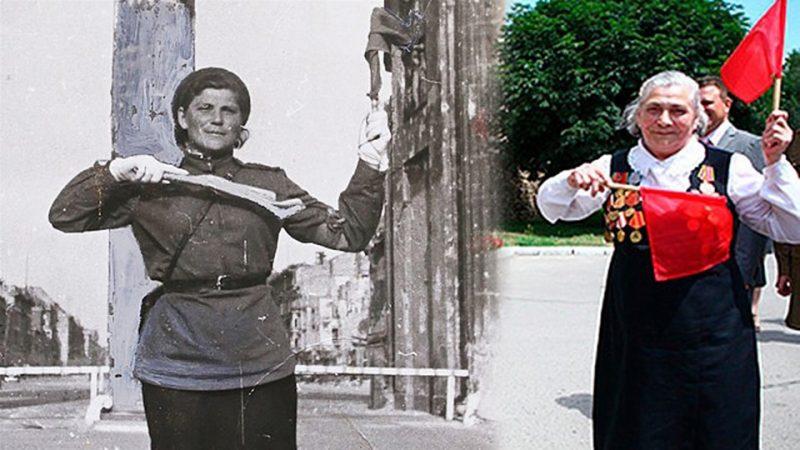 Регулировщица Мария Лиманская в годы войны и сегодня.