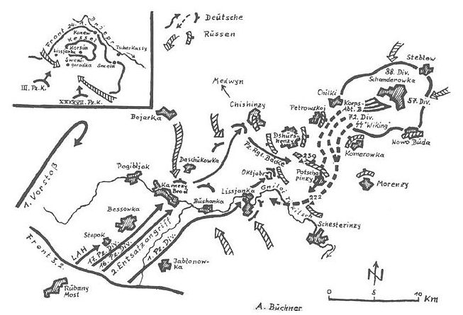 Схема прорыва немецких войск из окружения.