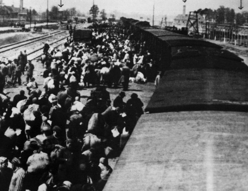 Венгерские евреи прибывают в Освенцим.