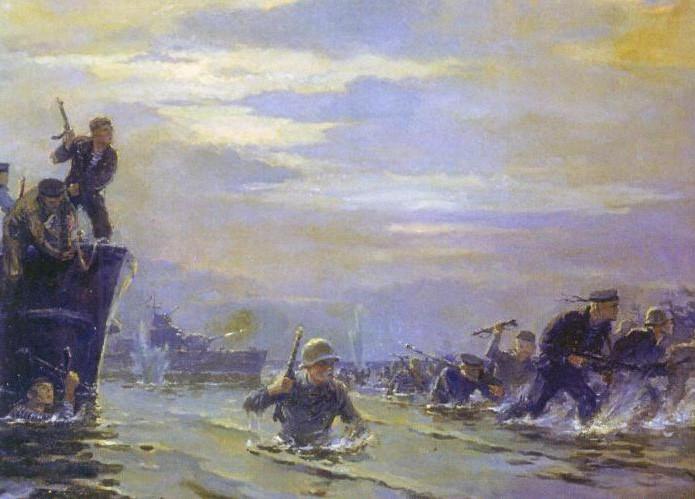 Высадка десанта на остров Соммерс глазами художника.