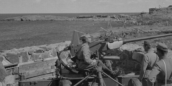 Финские артиллеристы на острове.