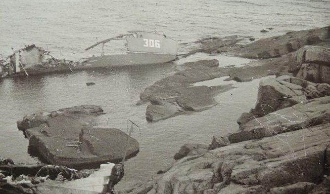 Останки катера МО-306 (финская фотография времен войны).