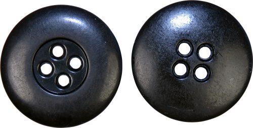 Пуговица черна бакелитовая диаметром 23 мм.
