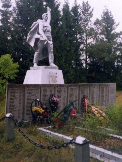 д. Курово Андреапольского городского округа. Памятник, установленный на братской могиле советских воинов, погибших в годы войны.