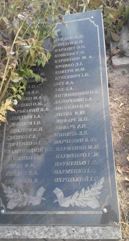 г. Заводское Лохвицкого р-на. Братская могила советских воинов.