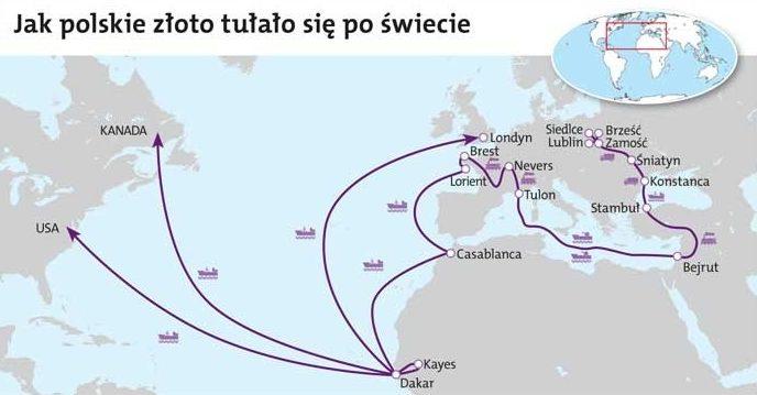 Маршруты «путешествия» польского золота.