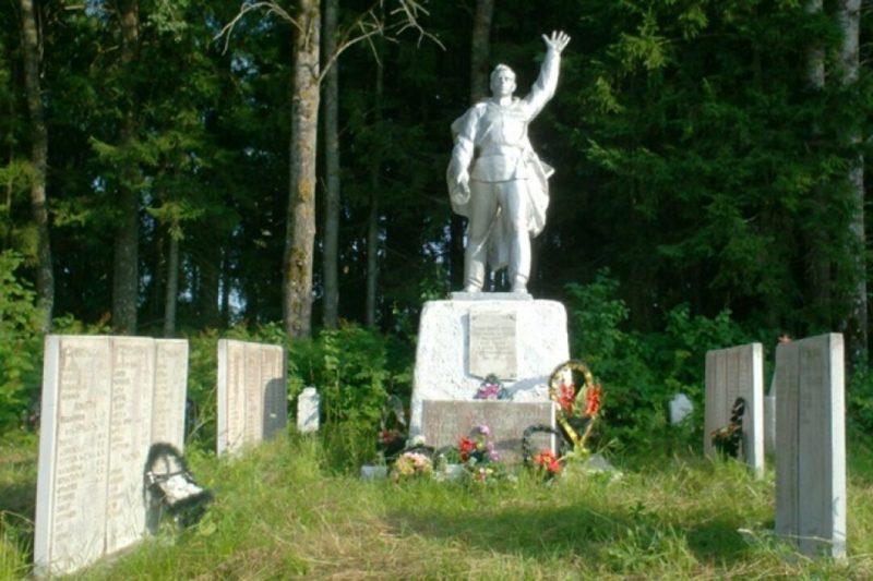 д. Луги Андреапольского городского округа. Памятник, установленный на братской могиле советских воинов, погибших в годы войны.