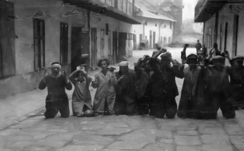 Еврееи на коленях ползут по улицам города в тюрьму на Бригидках.