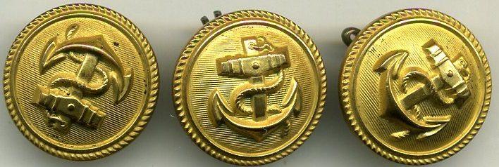 Пуговицы Кригсмарине диаметром 24 мм, улучшенного качества, изготовленные из бунтметалла, покрытые золотистой краской. В частности, использовались для матросских бушлатов.