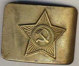 Железная пряжка курсантского состава РККА образца 1935 года, покрытая латунью.