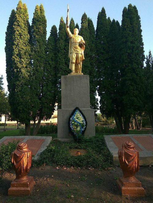 с. Токари Лохвицкого р-на. Памятник, установленный на братской могиле советских воинов, погибших в боях за село и памятный знак погибшим односельчанам.