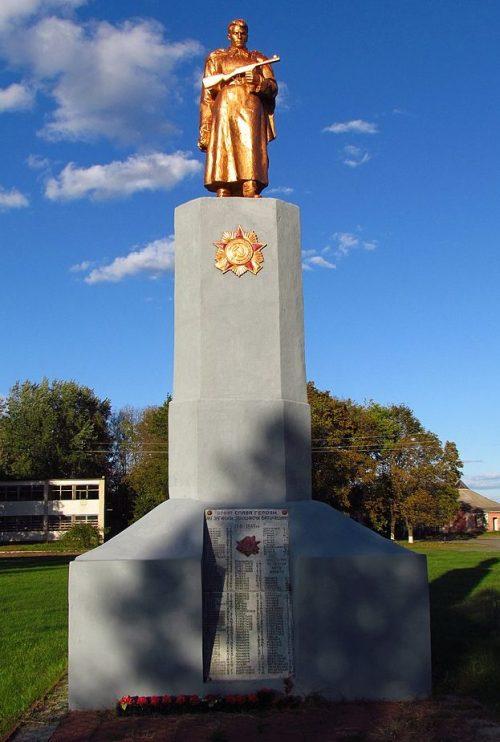 с. Ковалевка Полтавского р-на. Памятник, установленный в 1956 году на братской могиле советских воинов и мемориальные плиты с именами павшим земляков.