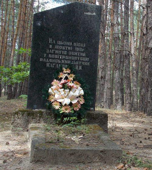 с. Вороны Котелевского р-на. Памятный знак на месте гибели летчика В.М. Кагановича.