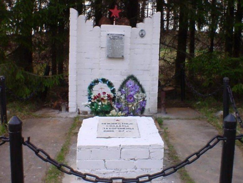 д. Пушкари Бельского р-на. Памятник, установленный на братской могиле, в которой похоронено 100 советских воинов, в т.ч. 98 неизвестных.