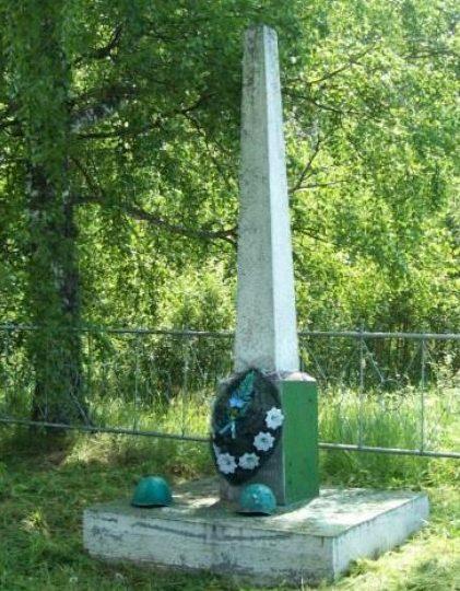 д. Самаки Бельского р-на. Памятник, установленный на братской могиле, в которой похоронено 84 неизвестных советских воина.