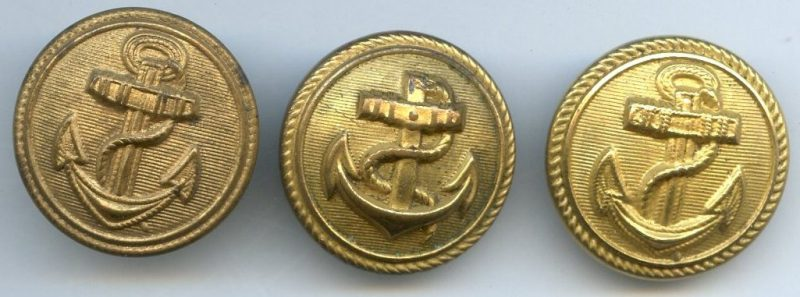 Пуговицы Кригсмарине диаметром 20 мм с разным типом крепления.