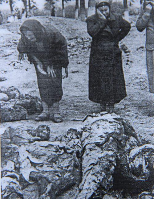 Опознание близких, эксгумированных немцами, расстрелянных НКВД заключенных в тюрьме в июне 1941 года. Июнь 1941 г.