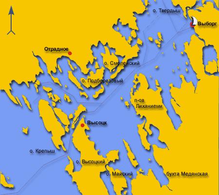 Карта Выборгского залива.
