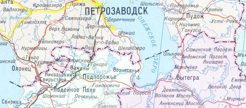 Поселок Шелтозеро на карте.