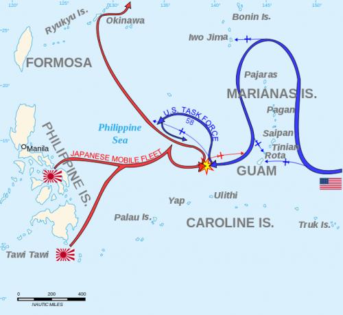 Карта сражения у Марианских островов.