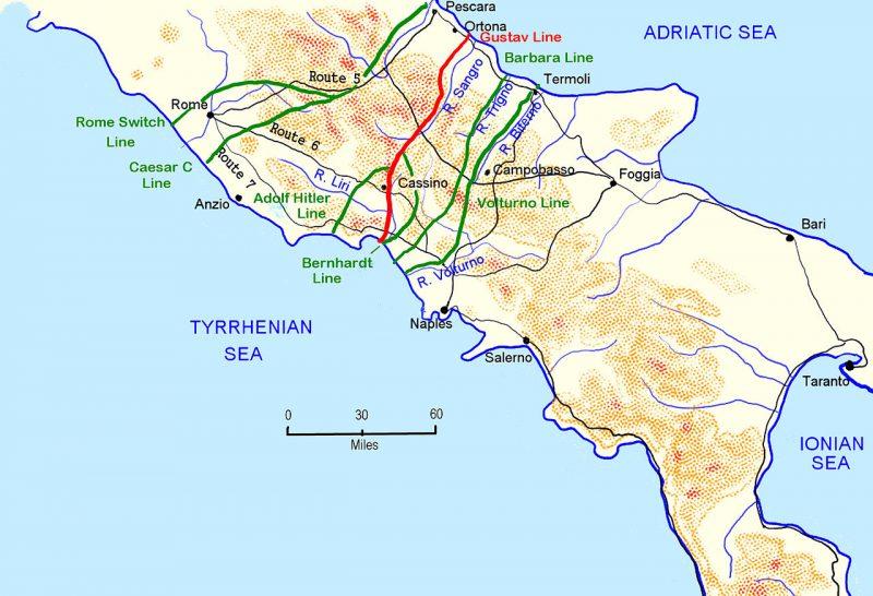 Карта-схема немецких оборонительных линий в центральной Италии.